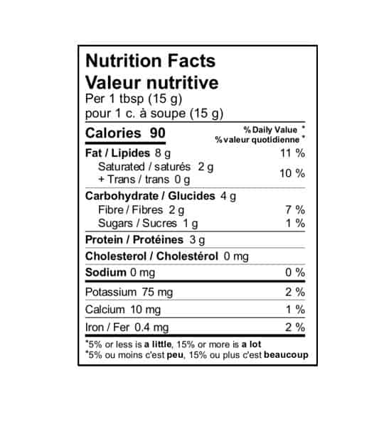 Nutrition facts panel of Fatso Hybrid Cocoa for serving size of 1 tbsp (15 g)