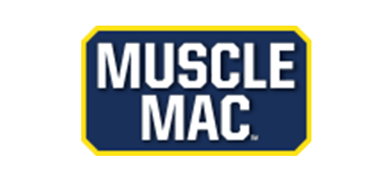 muscle mac logo white font with blue background and yellow border