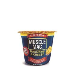 Blue and yellow container of Muscle Mac Macaroni & Cheese contains 20 g protein shown in white background