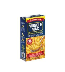 Blue and yellow box of Muscle Mac Macaroni & Cheese Performance Nutrition for Active Lifestyle contains 20 g protein
