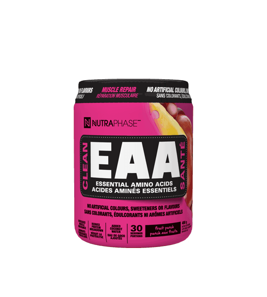 Pink container with black cap of NutraPhase Clean EAA with Fruit Punch flavour containing 30 servings