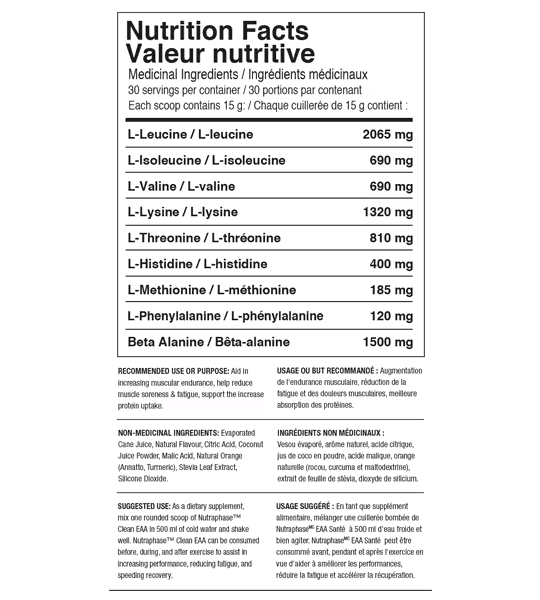 Nutrition facts and ingredients panel of Nutraphase EAA Intra-workout for serving size of 1 scoop (15 g) with 30 servings per container