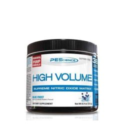 Black container with white and blue label of PEScience High Volumn Supreme Nitric Oxide Matrix with Blue Frost flavour