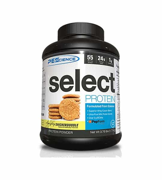 Black container with white and blue label of PEScience Select Protein powder with Snickerdoodle flavour