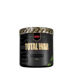 Black container with graphic cap of Redon1 Total War Pre-workout shown in white background