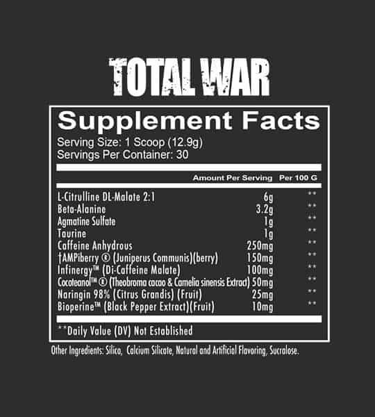 Supplement facts and ingredients panel of Redcon1 Total War Pre-workout for serving size of 1 scoop (12.9 g) with 30 servings per container