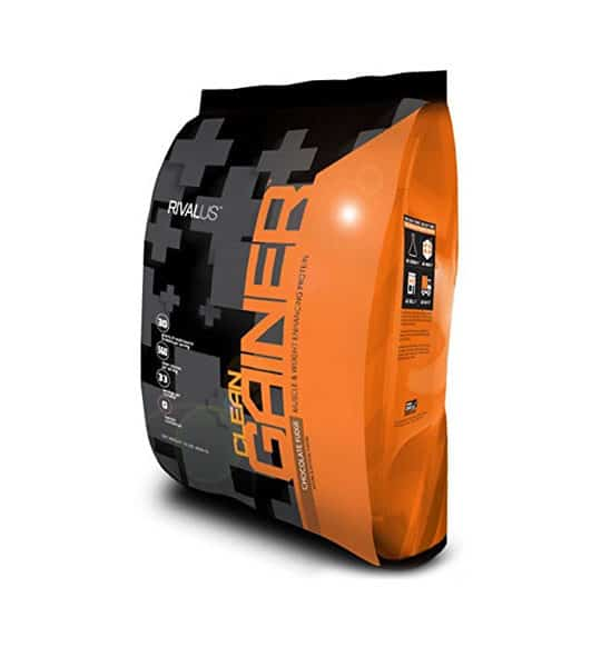 Black and orange bag of Rivalus Clean Gainer with Chocolate Fudge flavour containing 10 lbs