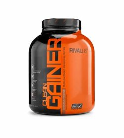Black and orange container with black lid of Rivalus Clean Gainer with Chocolate Fudge flavour contains 5 lb