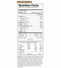 Nutrition facts and ingredients panel of Rivaulus Clean Gainer for serving size of 2 heaping scoops (136 g)