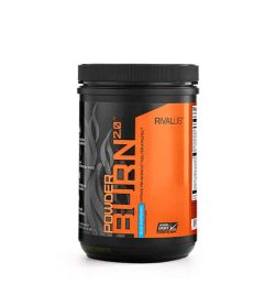 Black and orange container with black lid of Rivalus Power Burn 2.0 shown in white background