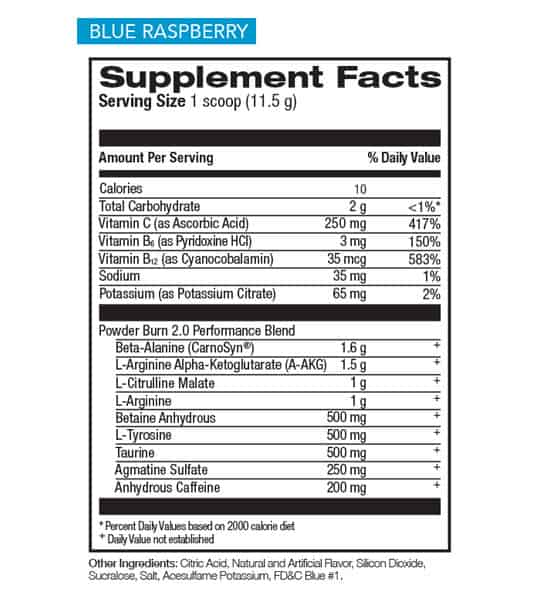 Supplement facts and ingredients panel of Rivaulus Powder Burn Pre-workout for serving size of 1 scoop (11.5 g)