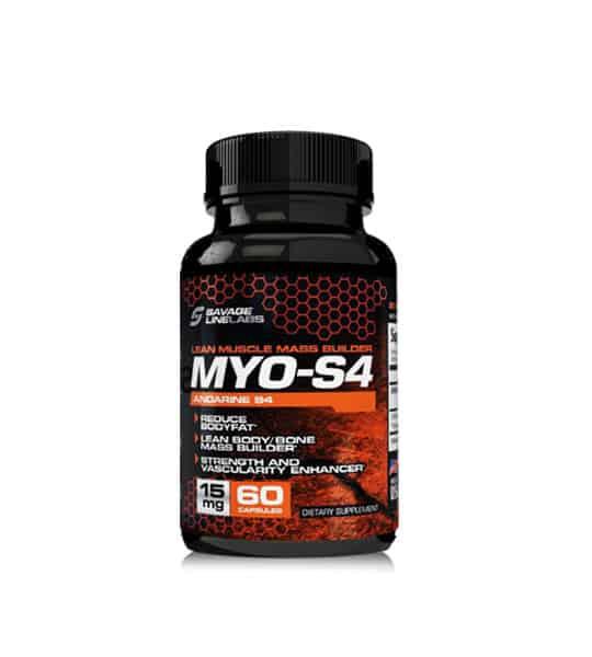 Black bottle of savage line labs sarms myo s4 andarine lean muscle buiilding 60 capsules