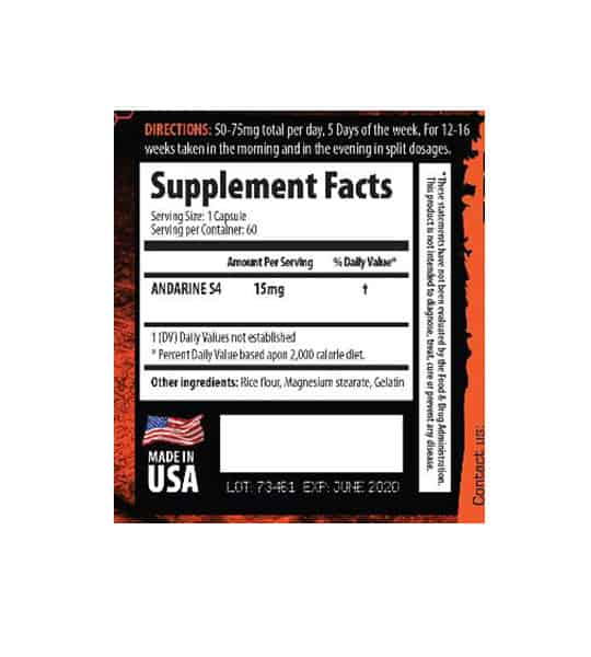 Supplement facts and ingredients panel for savage line labs andarine s4 sarms for lean muscle