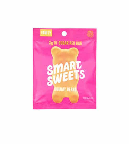 PInk pouch of Smart Sweets Fruity Gummy Bears contains 3 g of sugar per bag shown in white background