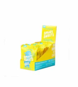 Yellow and blue box containing 6 packs of Smart Sweets Sour Blast Buddies with 3 g sugar shown in white background
