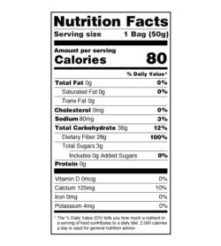 Nutrition facts panel of Smart Sweets Sour Blast Buddies for serving size of 1 bag (50 g)