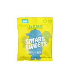 Single yellow and blue pack of Smart Sweets Sour Blast Buddies with 3 g of sugar shown in white background