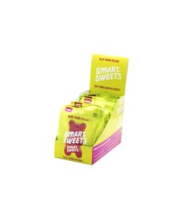 Yellow and pink box containing 12 packs of Smart Sweets Sour Gummy Bears with 3 g sugar per bag