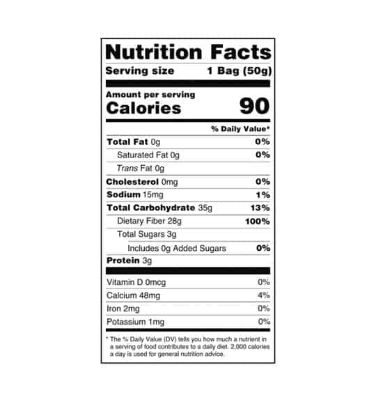 Nutrition facts panel of Smart Sweets Sour Gummie Bears for serving size of 1 bag (50 g)