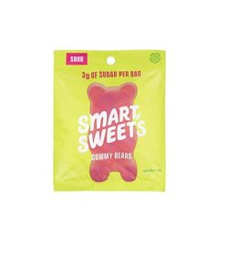 Single yellow and pink pack of Smart Sweets Sour Gummy Bears contains 3 g of sugar per bag shown in white background