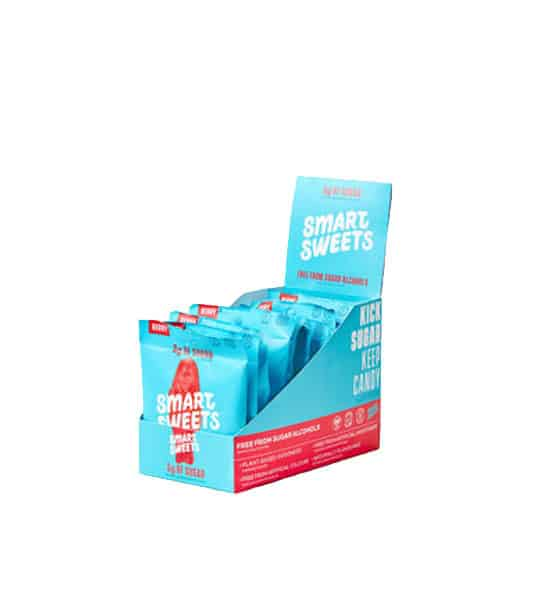 Blue and red box containing 6 packs of Smart Sweets Berry Sweet Fish with 3 g sugar shown in white background