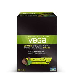 Black and green box of Vega Sport Protein Bar with Crispy Mint Chocolate flavour contains 840 g 12x70 g