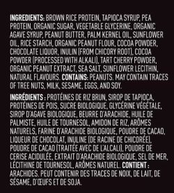 Ingredients panel of Vega Sport Protein Bar Box shown in white text in black background