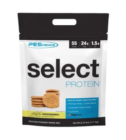 One white and black pouch of PEScience–Select Protein 55 servings Snickerdoodle flavour
