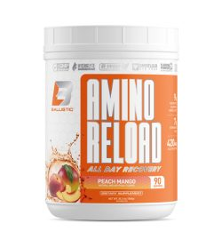 One white and orange container of Balistic Labs Amino Reload 90 servings PEACH MANGO flavour
