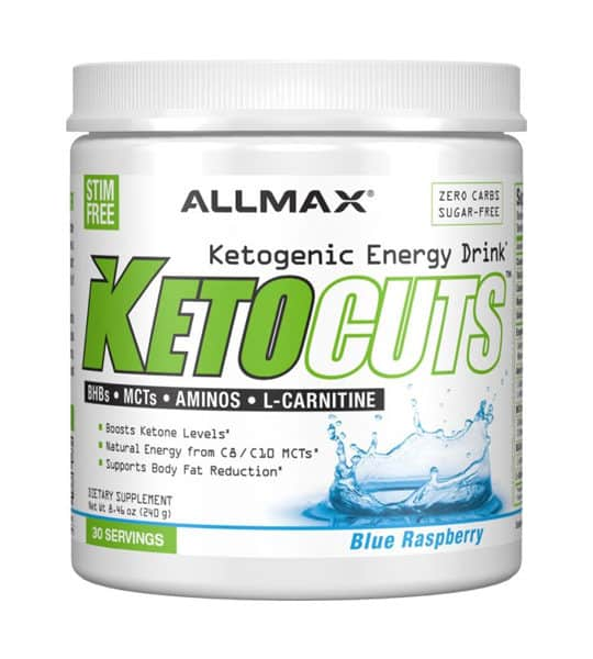 White container with white cap of Allmax KetoCuts Ketogenic Energy Drink with Blue Raspberry flavour contains 30 servings