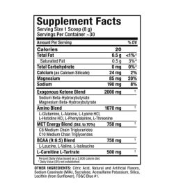 Supplement facts and ingredients panel of Allmax Nutrition Ketocuts for serving size of 1 scoop (8 g) with ~30 servings per container