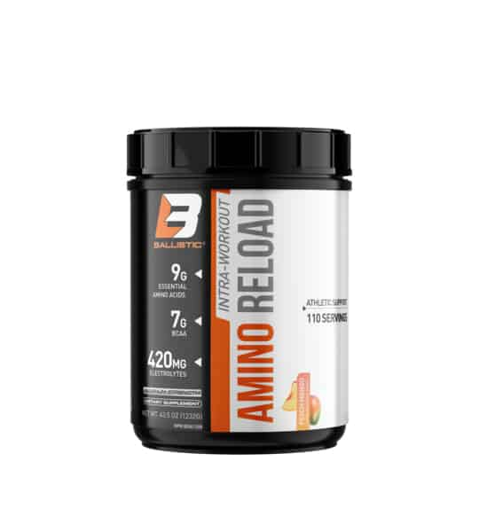 Black bottle of Ballistic Labs Amino Reload with 9g essential amino acids, 7g BCAA and 420mg electrolytes in 110 serving with orange and grey bold font for title balistic labratories B logo for BCAAs