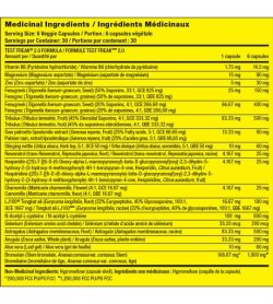 Medicinal ingredients panel of Pharmafreak Test Freak 2.0 for serving size of 6 veggie capsules with 30 servings per container