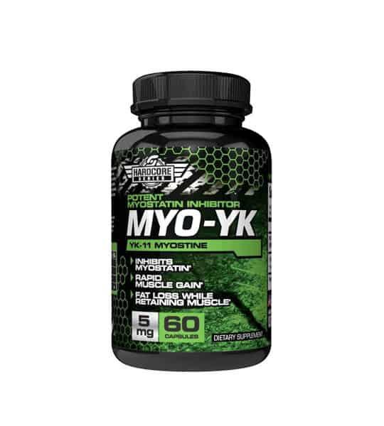 Black bottle of SavageLine Labs hardcore series myo yk yk-11 myostine 5mg myostatin inhibitor