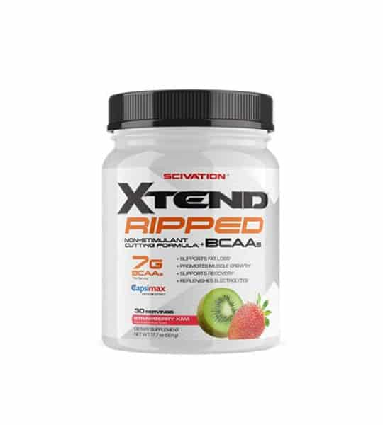 White container with black lid of Scivation Xtend Ripped BCAA contains 30 servings and 7 g BCAA