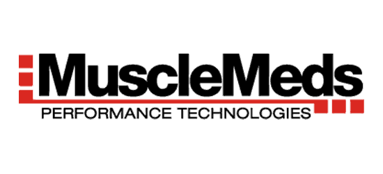 Mueclemeds logo black bold font with red line below performance technologies