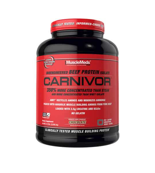 Black and red container with red cap of MuslceMeds Carnivor Bioengineered Beef Protein Isolate with Chocolate flavour