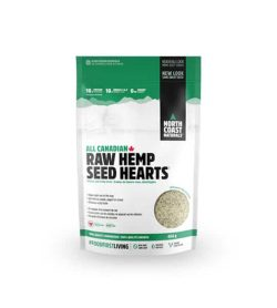 White and green pouch of North Coast Naturals All Canadian Raw Hemp Seed Hearts contains 454 g