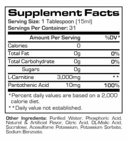 Supplement facts and ingredients panel of Prosupps l Carnitine for serving size of 1 tablespoon (15 ml) for 31 servings per container