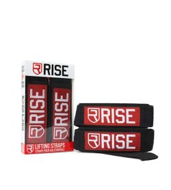 2 in a box and 2 outside of Rise Lifting Straps Black and Red shown in white background