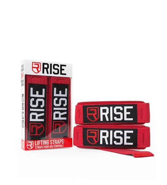 2 in a box and 2 outside of Rise Lifting Straps Red shown in white background