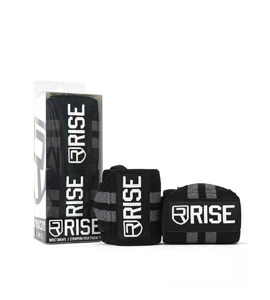 2 in a box and 2 outside shown in white background of Rise Wrist Wraps Black