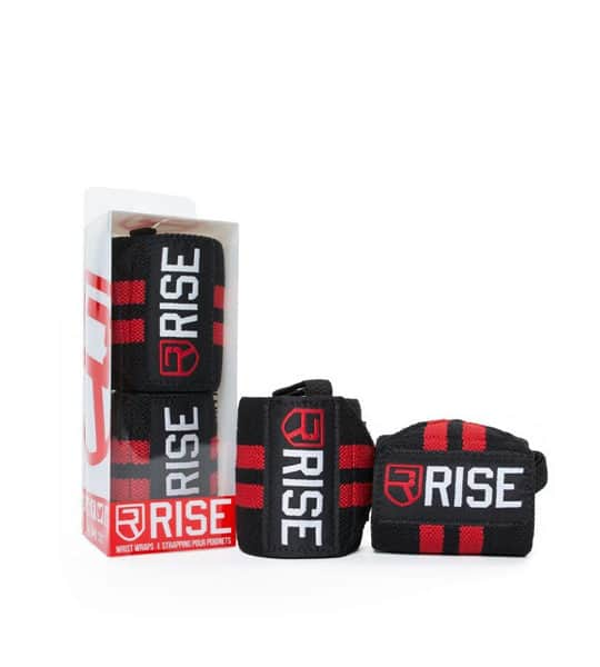 2 in a box and 2 outside shown in white background of Rise Wrist Wraps Red