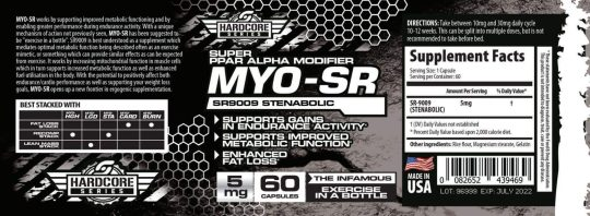 Label and Supplement facts for Savage Line Labs SR 9009 5mg ppar alpha modifier exercise in a bottle