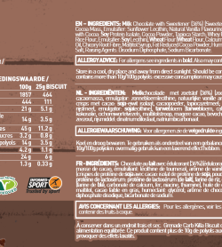 Nutritional information and ingredients panel of Carb KIlla Biscuit Nutrition Panel DblChoc for serving size 25 g biscuit