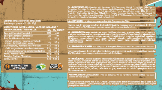 Nutritional Information and ingredients panel of Carb KIlla Biscuit Nutrition Panel Salted Caramel for serving size 25 g biscuit