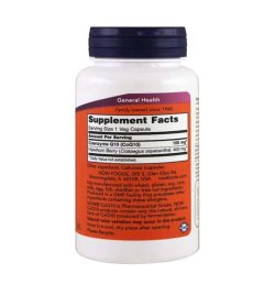 White and orange bottle showing supplement facts and ingredients label of NOW CoQ10 in white background