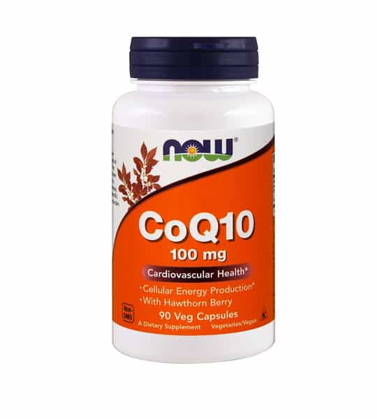 White and orange bottle with purple cap of NOW CoQ10 100 mg Cardiovascular Health* contains 90 veg capsules