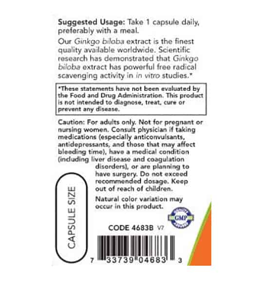 Suggested usage and caution label of NOW Gingko Biloba shown in black text in white background
