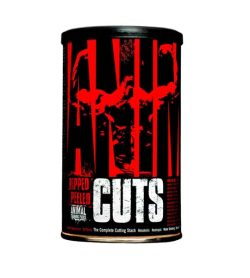 Red and black container of Universal Ripped Peeled Animal CUTS shown in white background